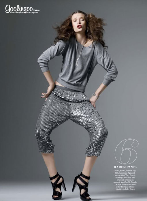 Pants 2462$, Lanvin top 36%, American Apparel shoes 395$, Tory Burch earrings, neckleace and bracelet price upon request